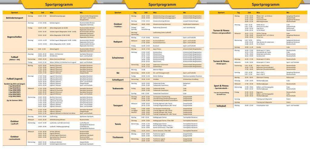 2021 - Sportprogramm