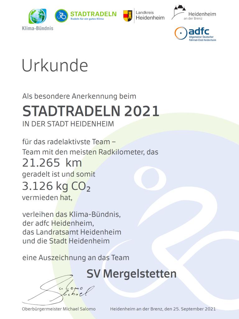 2021 - Bericht - Hauptverein - Stadtradeln - Urkunde